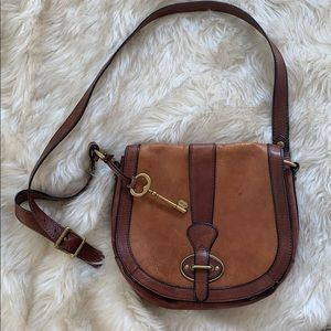 Fossil Leather Crossbody Saddle Bag